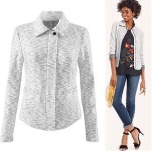 CAbi zip front heathered jacket L